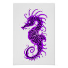 Intricate Purple Seahorse Design on White Poster