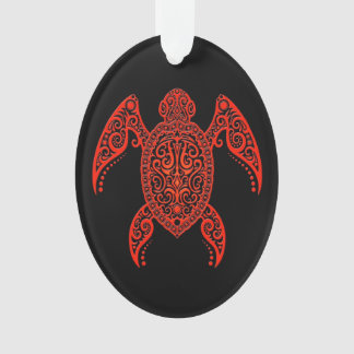Intricate Red and Black Sea Turtle Ornament