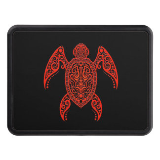 Intricate Red and Black Sea Turtle Trailer Hitch Cover