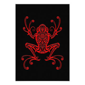 Intricate Red and Black Tree Frog Invitations