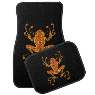 Intricate Red and Yellow Tree Frog Car Mat