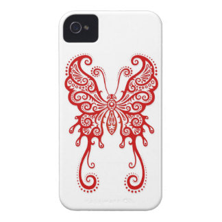 Intricate Red Butterfly on White iPhone 4 Case