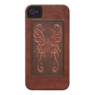 Intricate Red Leather Butterfly iPhone 4 Case-Mate Cases