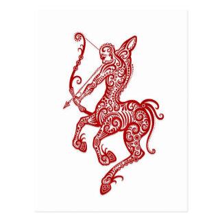 Intricate Red Sagittarius Zodiac on White Postcard