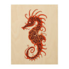 Intricate Red Seahorse Design on White Wood Print
