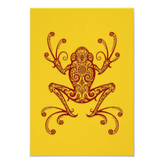 Intricate Red Tree Frog on Yellow Personalized Announcement