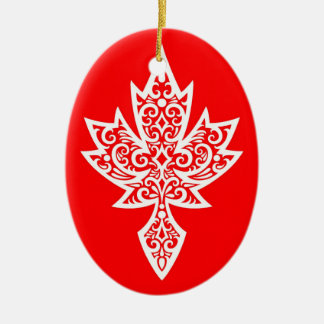 Intricate Red & White Canadian Maple Leaf Ceramic Ornament