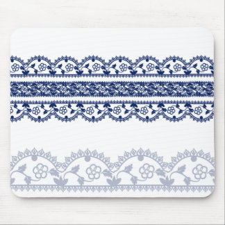 Intricate Royal Blue Lace on White Mouse Pad