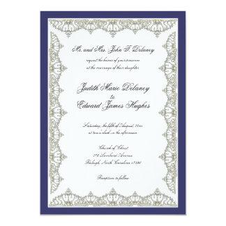 Intricate Royal Tiara Border Wedding Invitation