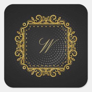 Intricate Square Monogram on Black Circular Square Sticker