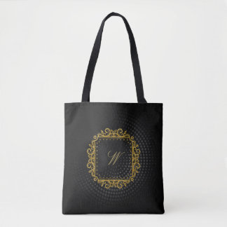Intricate Square Monogram on Black Circular Tote Bag