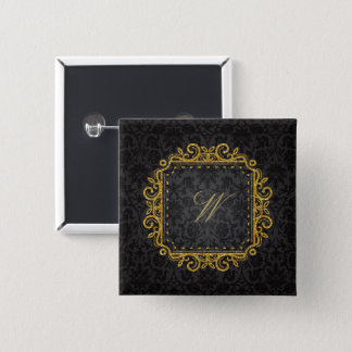 Intricate Square Monogram on Black Damask 2 Inch Square Button