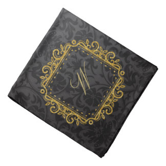 Intricate Square Monogram on Black Damask Bandana
