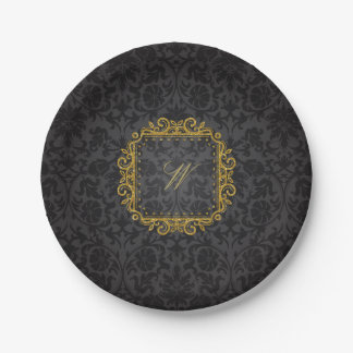 Intricate Square Monogram on Black Damask Paper Plate