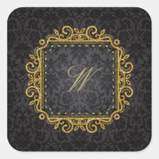 Intricate Square Monogram on Black Damask Square Sticker