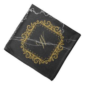 Intricate Square Monogram on Black Marble Bandana