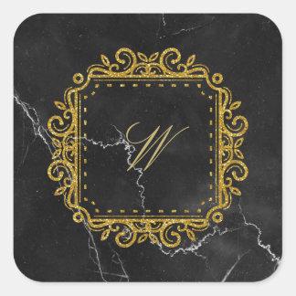 Intricate Square Monogram on Black Marble Square Sticker