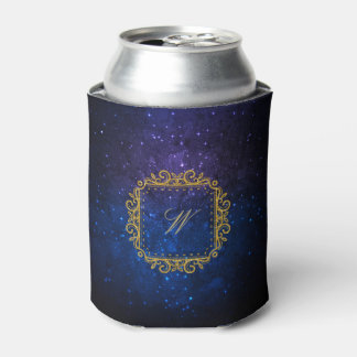 Intricate Square Monogram on Blue Galaxy Can Cooler