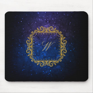 Intricate Square Monogram on Blue Galaxy Mouse Pad