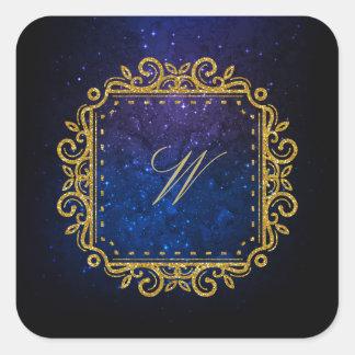 Intricate Square Monogram on Blue Galaxy Square Sticker