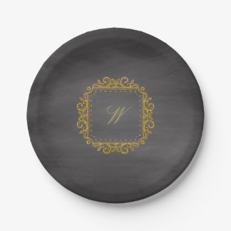 Intricate Square Monogram on Chalkboard Paper Plate