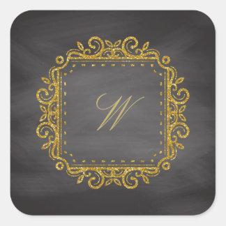 Intricate Square Monogram on Chalkboard Square Sticker