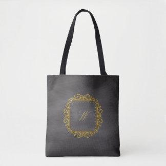Intricate Square Monogram on Chalkboard Tote Bag