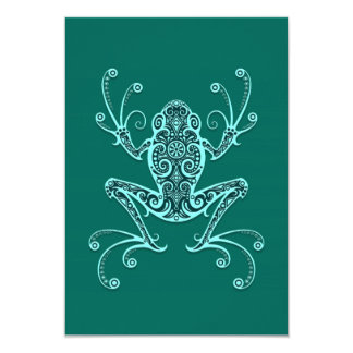 Intricate Teal Blue Tree Frog Invite