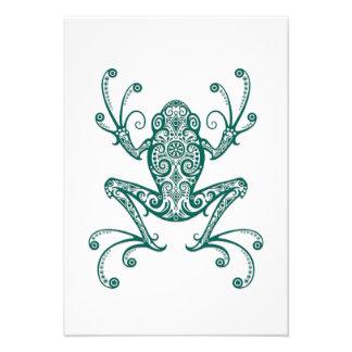 Intricate Teal Blue Tree Frog on White Custom Invites
