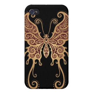 Intricate Tribal Butterfly – brown & black iPhone 4/4S Cover