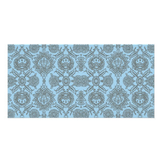 Intricate Vintage Floral - Light Blue Photo Greeting Card