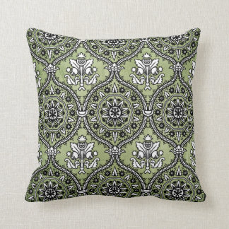 Intricate Vintage Pattern in Black and Green Throw Pillow