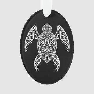 Intricate White and Black Sea Turtle Ornament