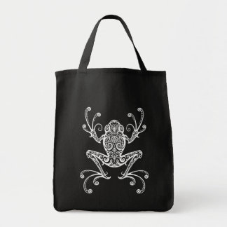 Intricate White Tree Frog Tote Bags