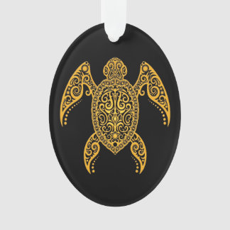 Intricate Yellow and Black Sea Turtle Ornament