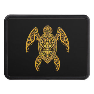 Intricate Yellow and Black Sea Turtle Tow Hitch Cover