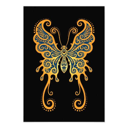 Intricate Yellow and Blue Butterfly on Black Personalized Invite