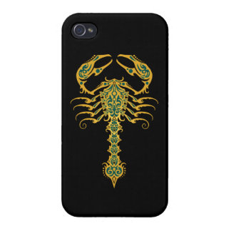 Intricate Yellow and Blue Tribal Scorpion Case For iPhone 4