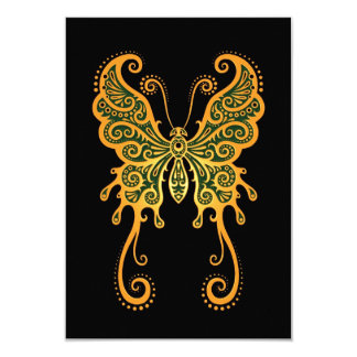 """Intricate Yellow and Green Butterfly on Black 3.5"""" X 5"""" Invitation Card"""