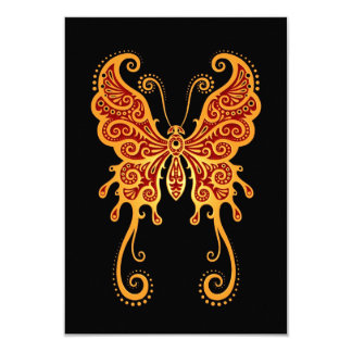 """Intricate Yellow and Red Butterfly on Black 3.5"""" X 5"""" Invitation Card"""