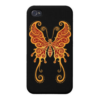 Intricate Yellow and Red Butterfly on Black Covers For iPhone 4
