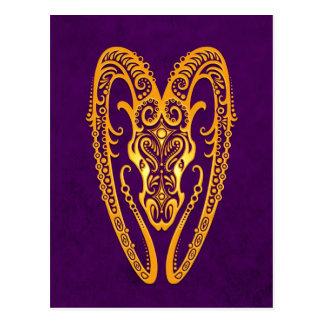 Intricate Yellow Aries Zodiac on Purple Postcard
