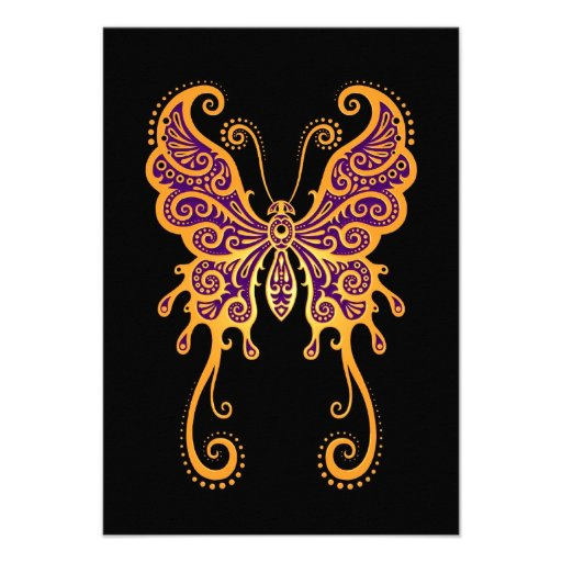 Intricate Yellow Butterfly on Black Invitations