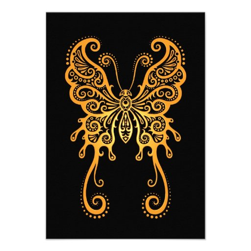 Intricate Yellow Butterfly on Black Personalized Invite