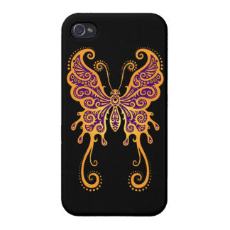 Intricate Yellow Butterfly on Black iPhone 4/4S Covers