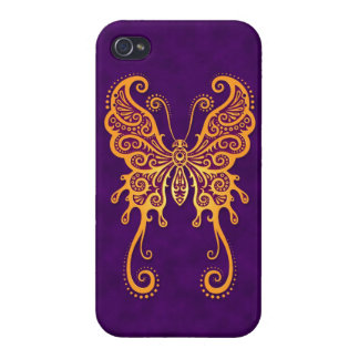 Intricate Yellow Butterfly on Purple iPhone 4 Cases