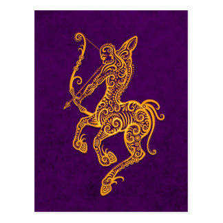Intricate Yellow Sagittarius Zodiac on Purple Postcard