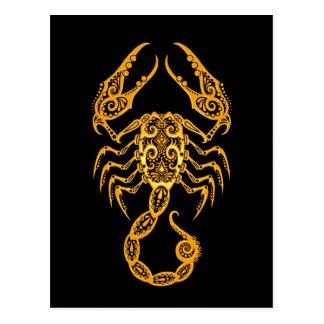 Intricate Yellow Scorpio Zodiac on Black Postcard