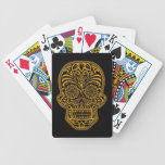Intricate Yellow Sugar Skull on Black Bicycle Playing Cards