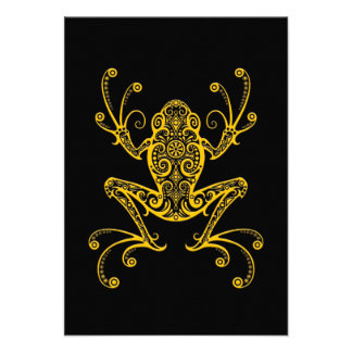 Intricate Yellow Tree Frog on Black Personalized Invitation